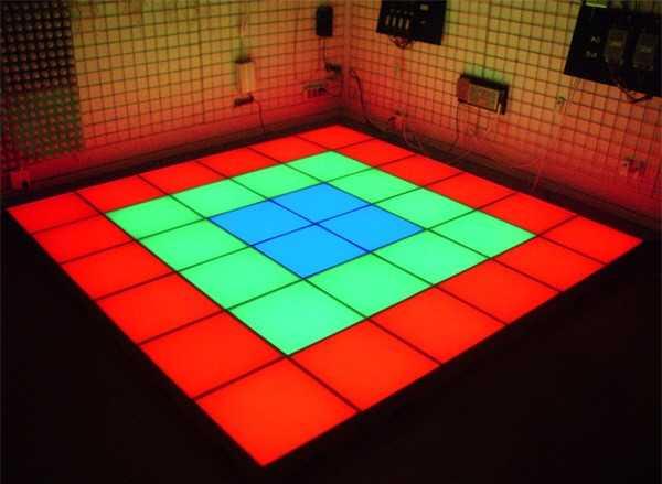 Пример монтажа блоков для светового пола.