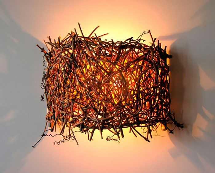 Светильник из прутьев деревьев своими руками с фото 68